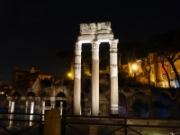 Temple of Castor and Pollux at night